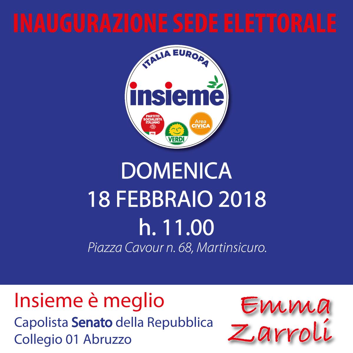 Abruzzo verso le elezioni. Inaugurazione della sede elettorale di
