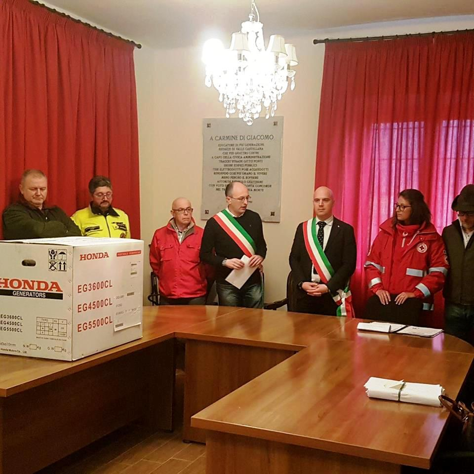 Valle Castellana&Solidarietà. Il Comune riceve in dono 6 gruppi elettrogeni da Stresa e fondi da Pone Buggianese