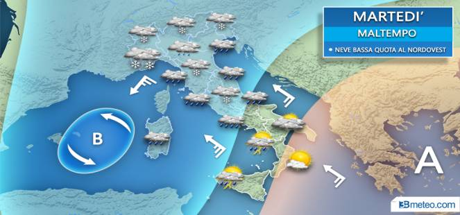 Meteo. Arriva il gelo su l'Italia.Inverno e neve a quote basse