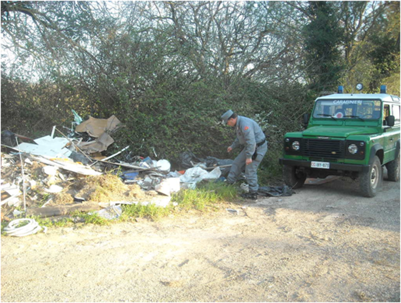 Rifiuti abbandonati nel bosco: tre i denunciati dal Cc