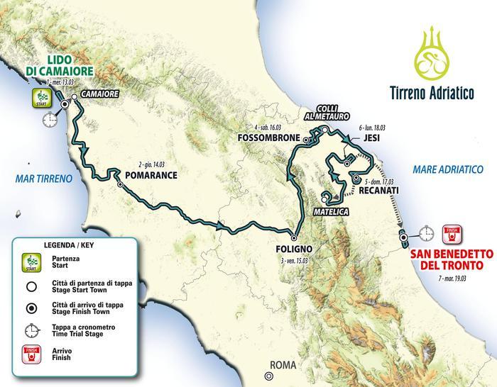 Ciclismo. Presentata la 54 a Tirreno-Adriatico  dal 13 al 19 marzo ... ebcf005da31