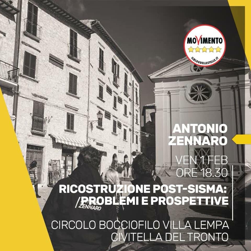 Abruzzo elezioni Regionali. l'On. Zennaro(M5S) a Civitella del Tronto per parlare di post-sisma